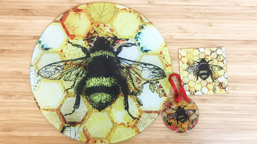 Yellow Patchwork Bee Glass Gift Set - Worktop Saver, Decoration & Coaster