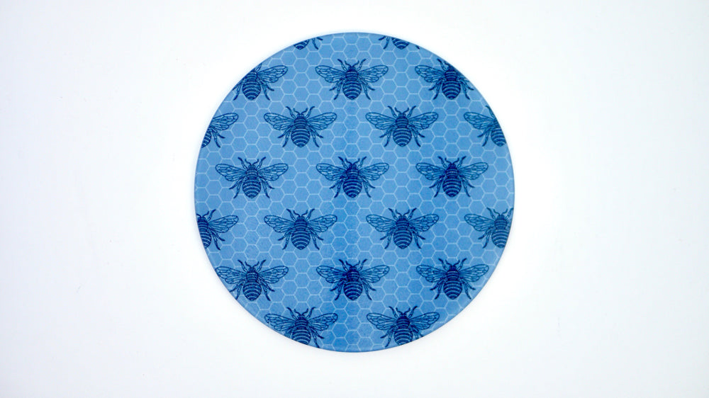 Grey Small Bee Glass Worktop Saver - Chopping Board - Placemat - Kitsch Republic
