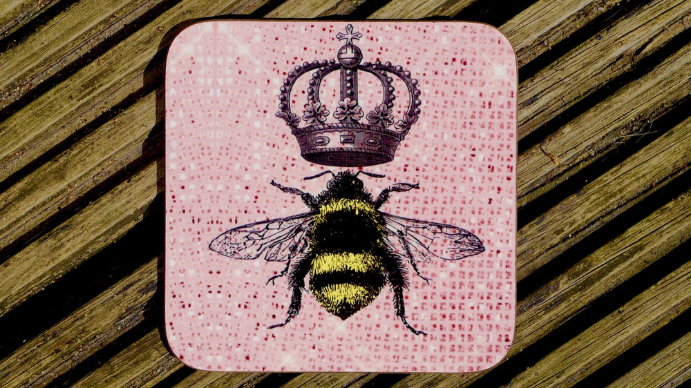 Queen Bee Pink Sparkle Coaster - Bee Collection - Kitsch Republic