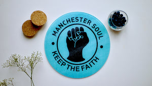 Mancheter Soul - Northern Soul Blue Glass Worktop Saver - Chopping Board - Placemat - Kitsch Republic