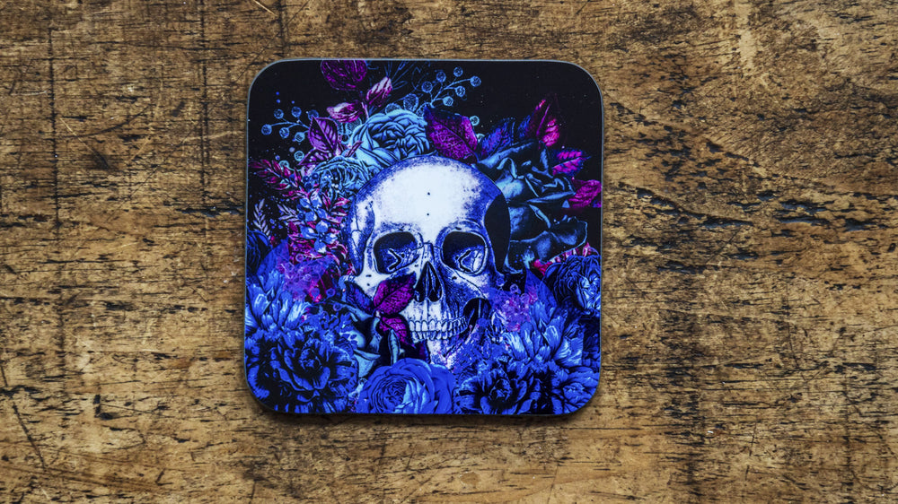 Neon Blue Skull Day of the Dead Floral Coaster - Kitsch Republic