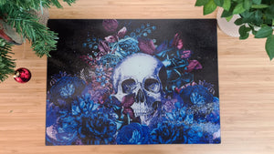 Load image into Gallery viewer, Black Skull and Flowers 40cm x 30cm Worktop Saver B;ue