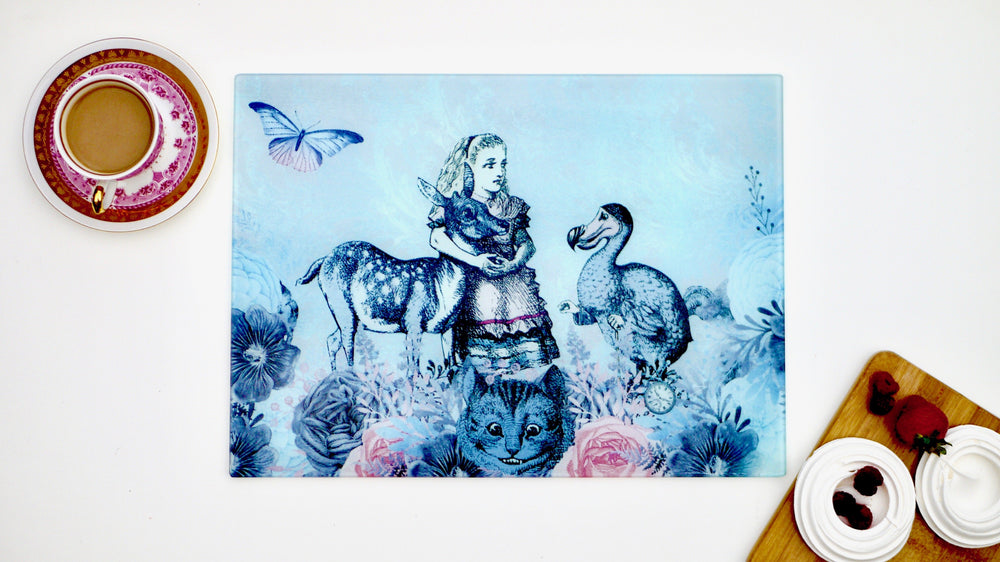 Load image into Gallery viewer, Alice in Wonderland Grey and Blue Dodo 40cm x 30cm Worktop Saver - Kitsch Republic