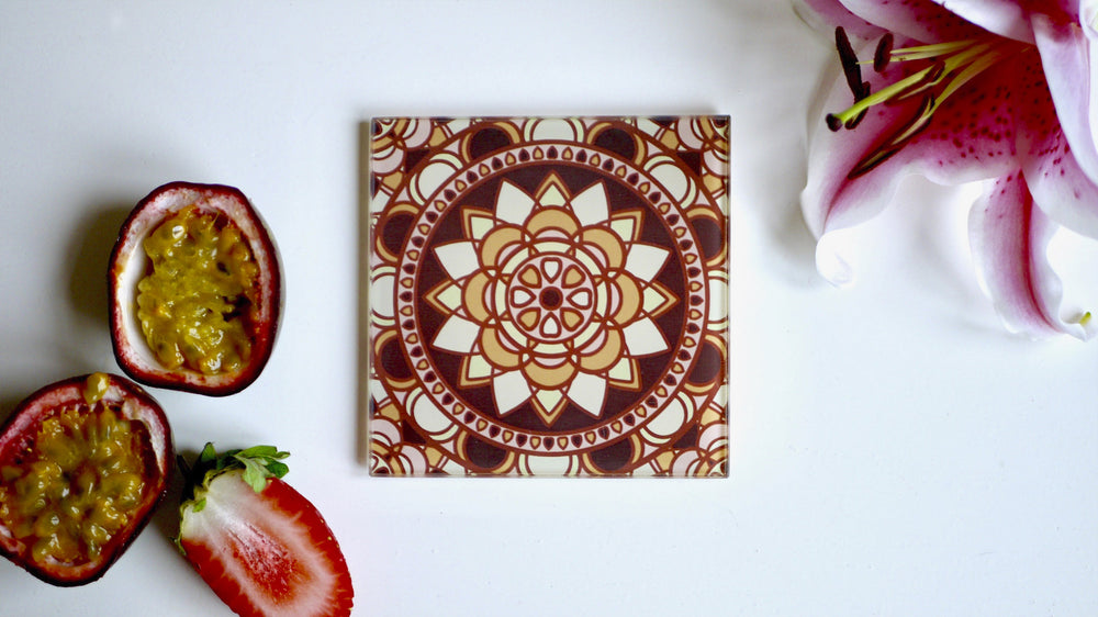 Mid Century Brown and Orange Glass Coaster - Kitsch Republic