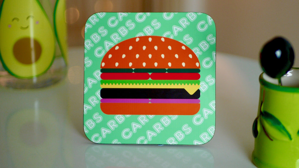 Carbs Burger Coaster - Fast Food Collection - Kitsch Republic