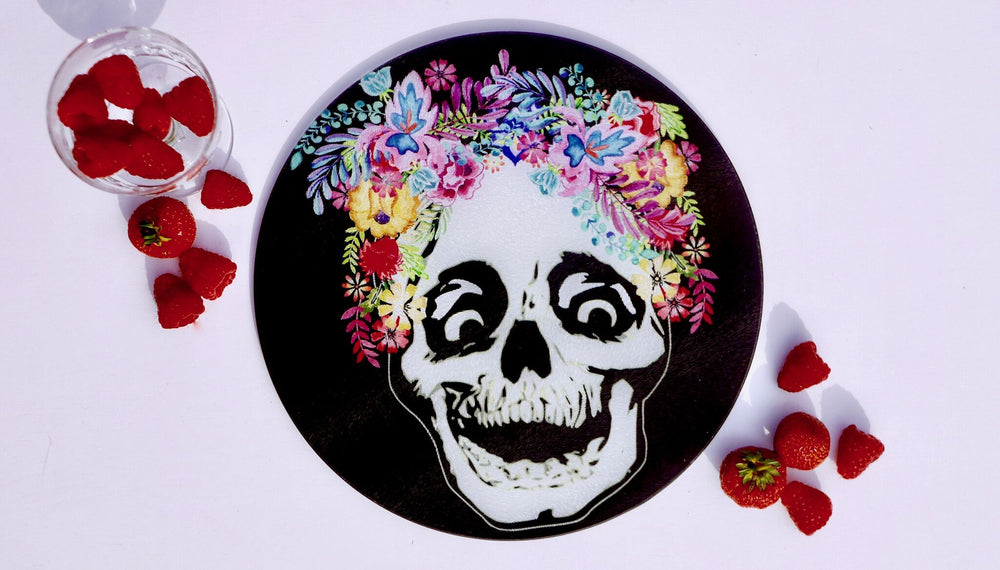 Flower Crown Skull Glass / Day of the Dead Worktop Saver - Chopping Board - Placemat
