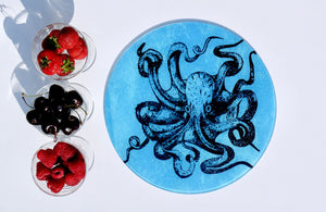 Blue Octopus Kraken Steampunk Worktop Saver - Chopping Board - Placemat - Kitsch Republic
