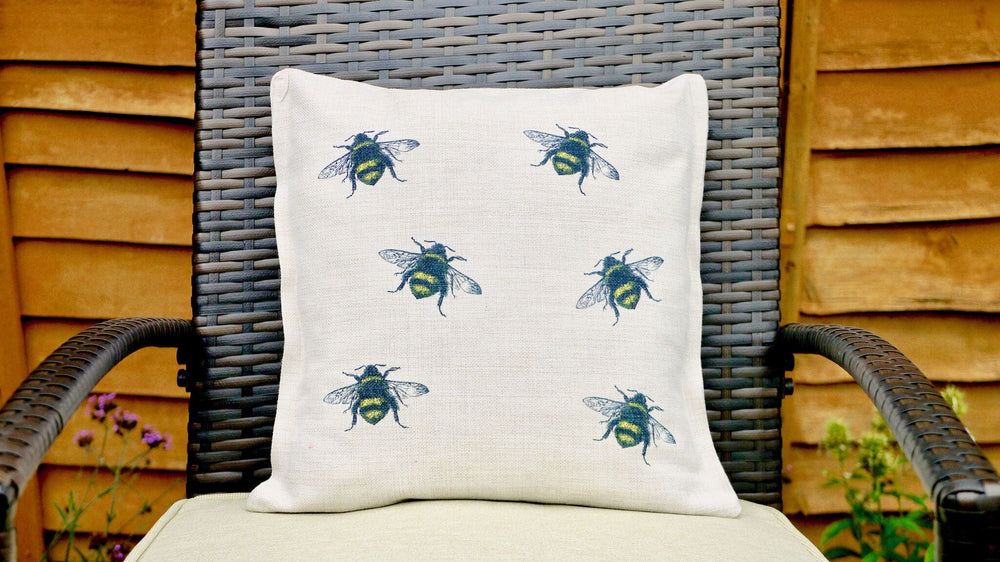 Bee Cushion - Canvas Feel Cushion inc. Inner 45cm x 45cm