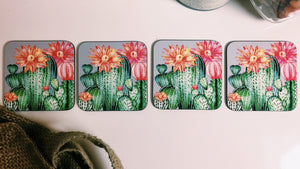 Cactus and Floral Coasters - Set of 4