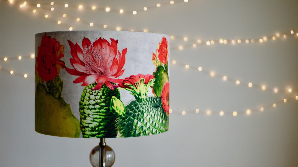Load image into Gallery viewer, Grey Bright Cactus Velvet Lampshade