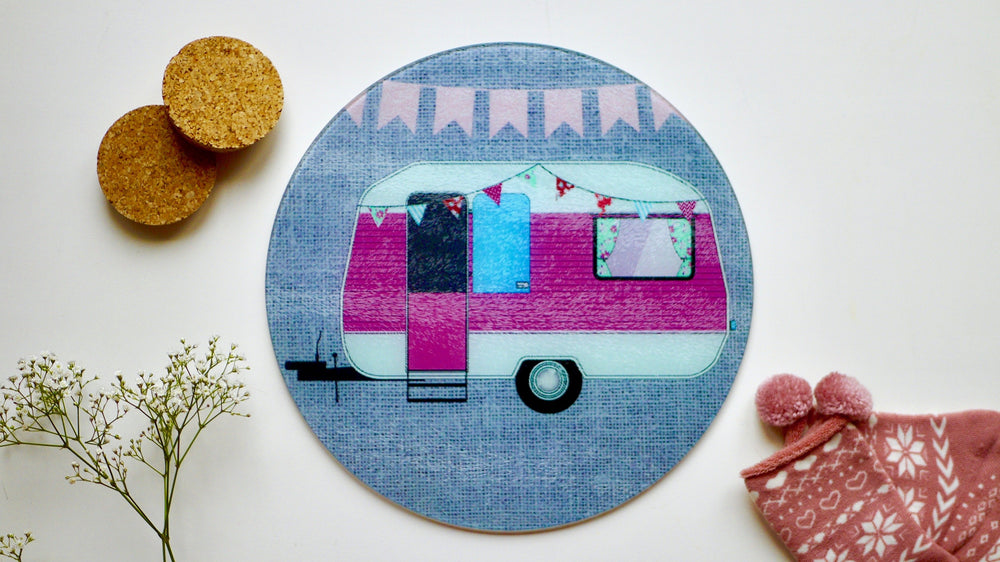 Load image into Gallery viewer, Caravan Glass Worktop Saver - Chopping Board - Placemat - Kitsch Republic