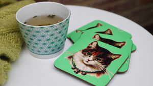 Load image into Gallery viewer, Green Vintage Cat Coaster - Kitsch Republic