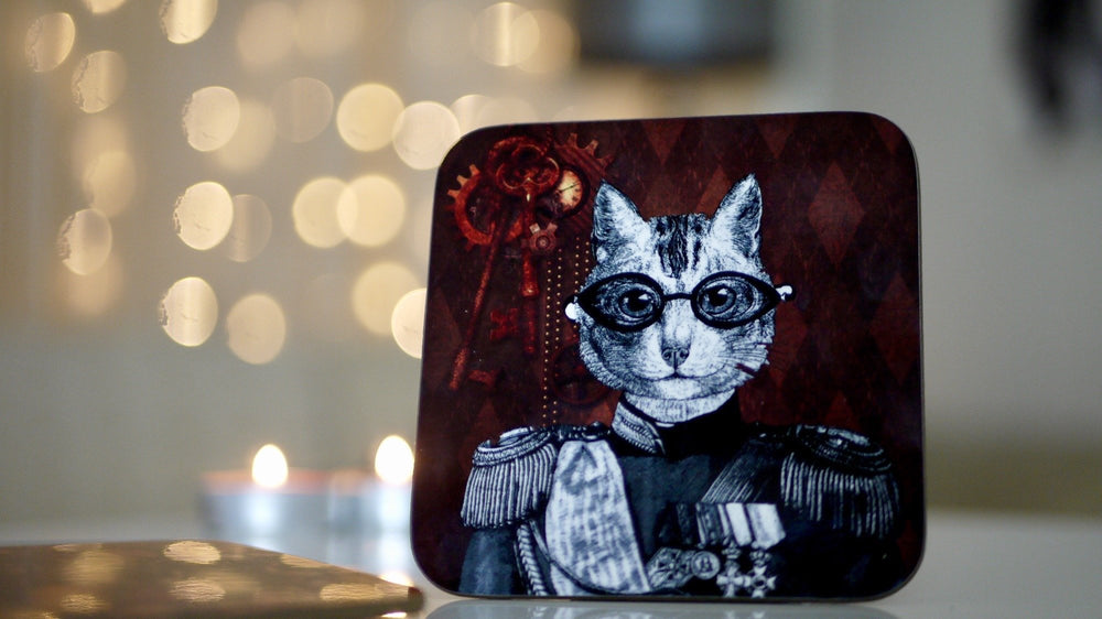 Steampunk Military Cat Coaster - Steampunk Collection - Kitsch Republic