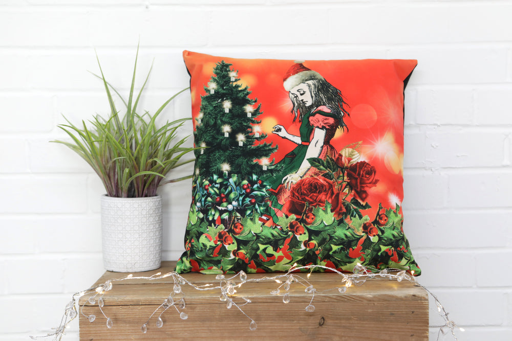 Alice in Wonderland Velvet Cushion