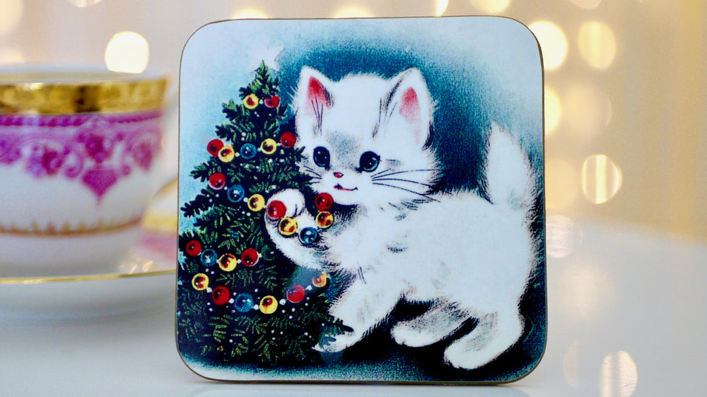 Vintage Christmas Cat Coaster - Kitsch Republic