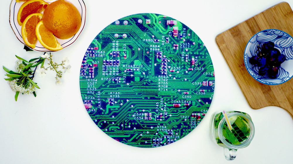 Load image into Gallery viewer, Green Circuit Board Worktop Saver - Chopping Board - Placemat - Kitsch Republic