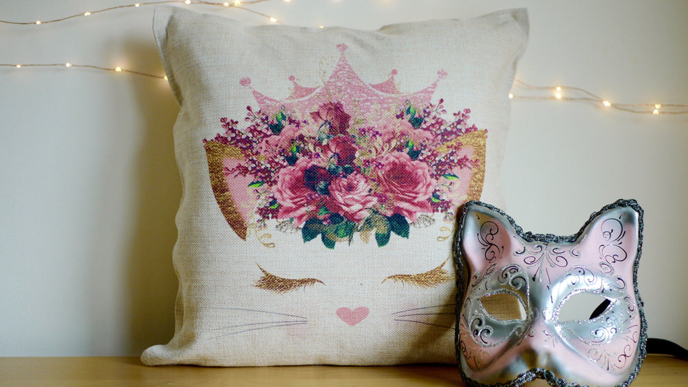 Load image into Gallery viewer, Cute Cat Face Pink Cushion - Canvas Feel Cushion inc. Inner 45cm x 45cm