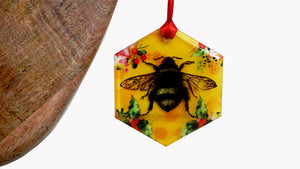 Load image into Gallery viewer, Yellow Bee Glass Christmas Decoration Hexagon