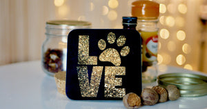 Black and Gold LOVE Dog Paw Coaster - Kitsch Republic