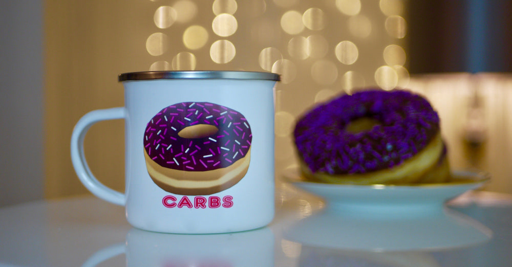 Load image into Gallery viewer, Carbs Doughnut - Enamel Mug - Kitsch Republic