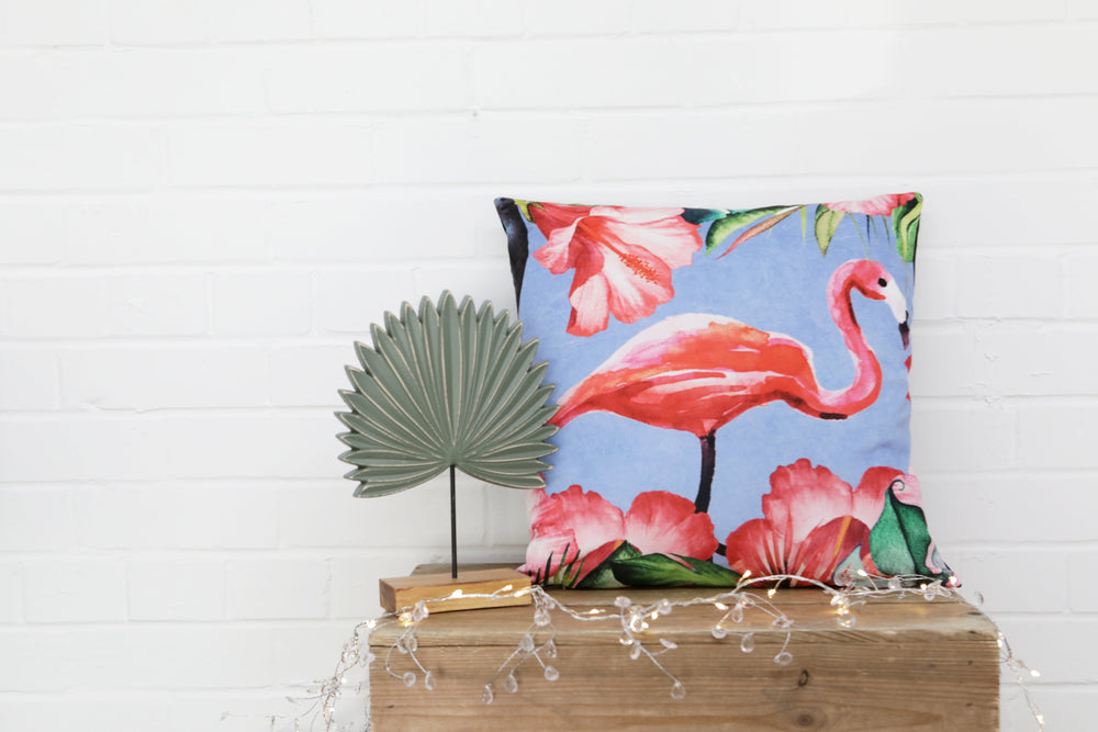 Tropical Flamingo Velvet Cushion