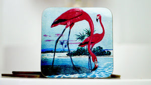 Vintage Pink Flamingo Birds Coaster - Kitsch Republic