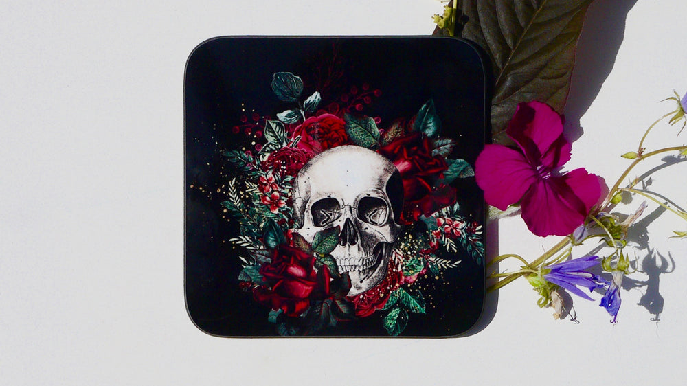 Skull Day of the Dead Floral Coaster - Collection - Kitsch Republic