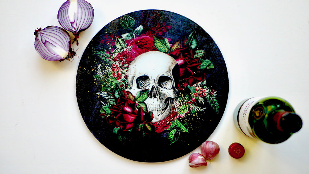 Load image into Gallery viewer, Floral Black Skull Glass Worktop Saver - Chopping Board - Placemat - Kitsch Republic
