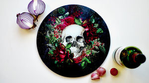 Floral Black Skull Glass Worktop Saver - Chopping Board - Placemat - Kitsch Republic
