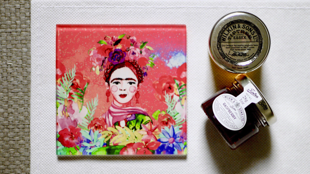 Load image into Gallery viewer, Frida Kahlo Pink Glass Coaster - Kitsch Republic