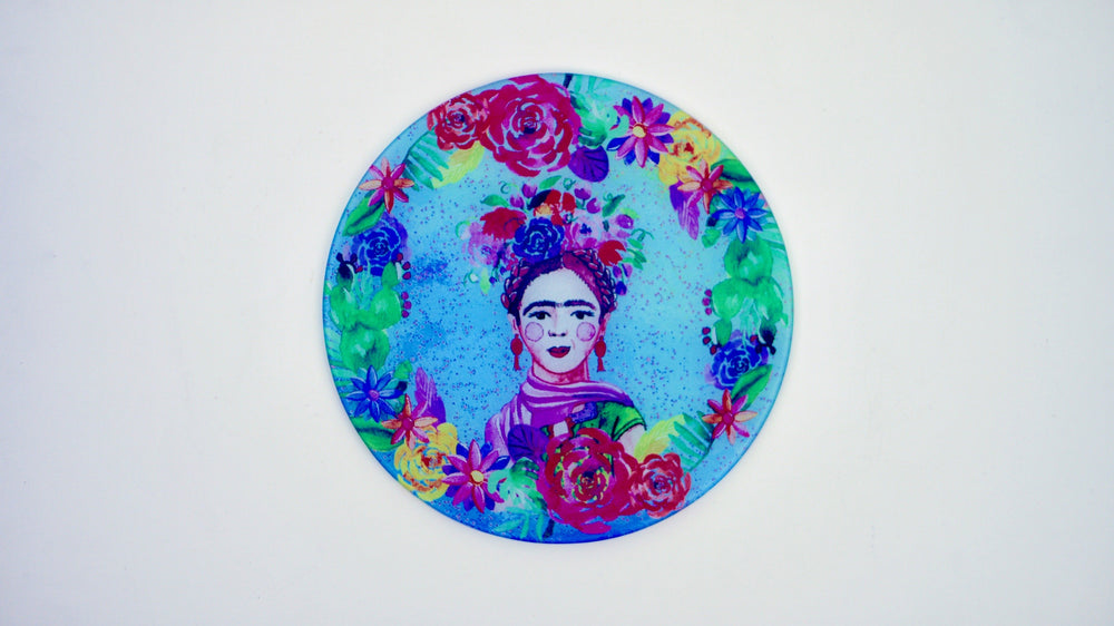 Load image into Gallery viewer, Frida Khalo Blue Glass Worktop Saver - Chopping Board - Placemat - Kitsch Republic