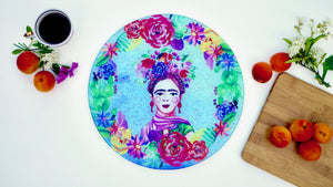 Frida Khalo Blue Glass Worktop Saver - Chopping Board - Placemat - Kitsch Republic