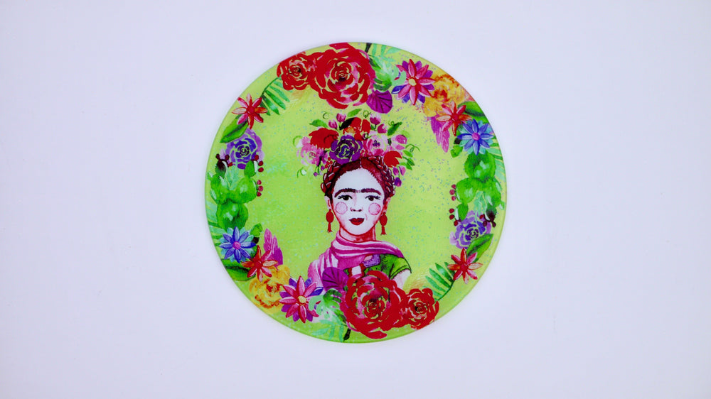 Load image into Gallery viewer, Frida Khalo Green Glass Worktop Saver - Chopping Board - Placemat - Kitsch Republic