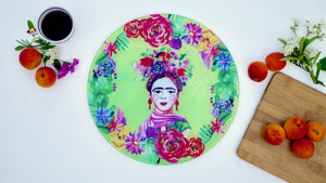 Frida Khalo Green Glass Worktop Saver - Chopping Board - Placemat - Kitsch Republic