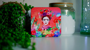 Load image into Gallery viewer, Frida Khalo Pink Coaster