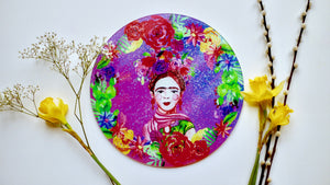 Load image into Gallery viewer, Frida Khalo Purple Glass Worktop Saver - Chopping Board - Placemat