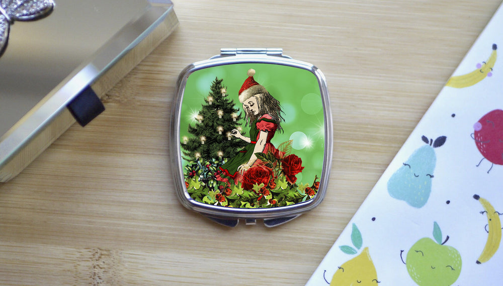 Alice in Wonderland Green Christmas Compact Mirror