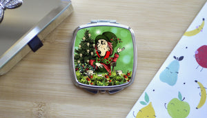 Alice in Wonderland Mad Hatter Green Christmas Compact Mirror