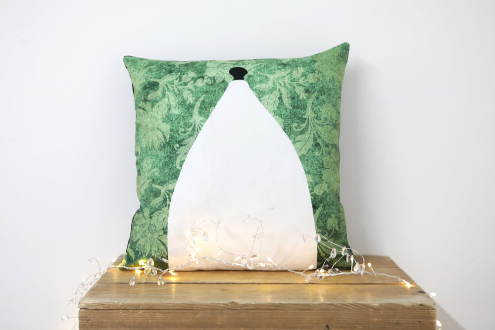 White Nancy Bollington Green Velvet Cushion - Kitsch Republic