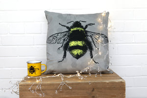 Load image into Gallery viewer, Grey Bee Velvet Cushion