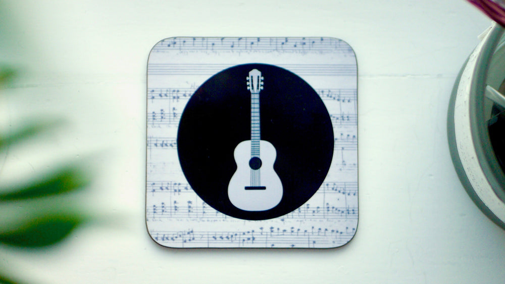 Load image into Gallery viewer, Grey Guitar Musical Notes Coaster