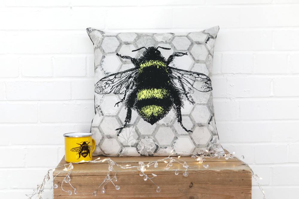 Grey Bee Velvet Cushion