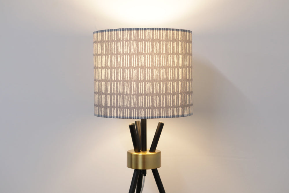 Grey and White Lines Lampshade - Kitsch Republic