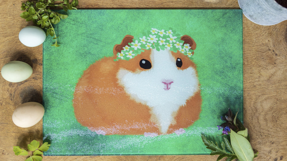 Guinea Pig Hamster Green 40cm x 30cm Glass Worktop Saver / Serving Platter / Placemat - Kitsch Republic
