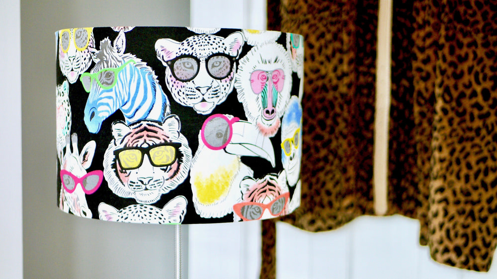 Jungle Animals in Neon Glasses Lampshade - Kitsch Republic