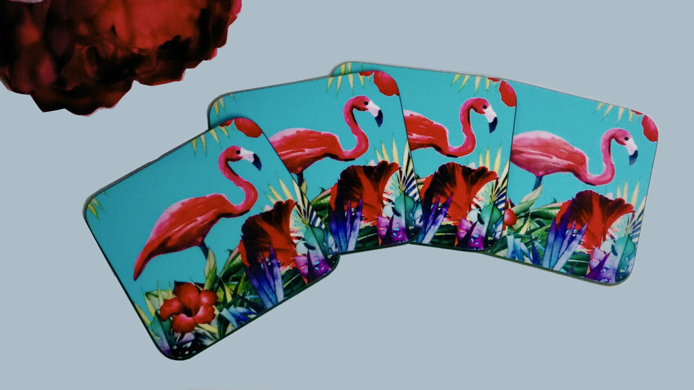 Blue and Pink Flamingo Coasters - Blue - Set of 4 - Kitsch Republic