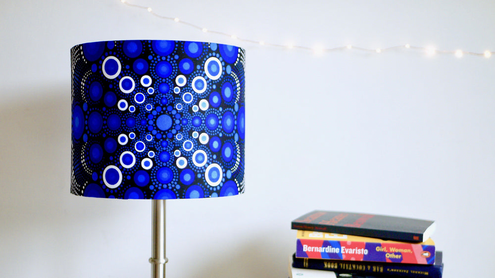 African Wax Fabric 25cm Drum Lampshade - Stunning Blue - Kitsch Republic