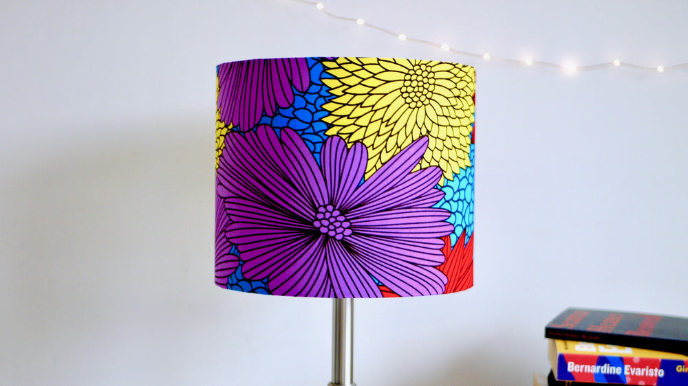 Floral African Wax Fabric 25cm Drum Lampshade - Kitsch Republic