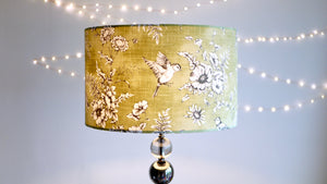 Olive Sage Green Bird Finch Lampshade - Kitsch Republic
