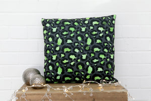Leopard Print Green Velvet Cushion - Kitsch Republic